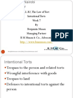 Lectures Week 7 Intentional Torts, June 30, 2014