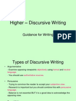 higher  discursive writing