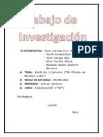 Analisis Literario de Mi Plannta de Naranja Lima