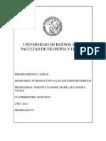 Seminario de Grado 'Introducción a Los Estudios Retóricos' (Nagore y Vitale, 2013)
