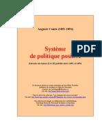 COMTE Auguste, Systeme de Politique Positive