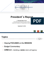 Sept. 10, 2014, report by Randy Mills, president of California stem cell agency