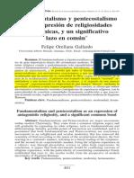 Fundamentalismo y Pentecostalismo como Expresion de religiosidades antagonicas, y un significativo lazo en comun.pdf