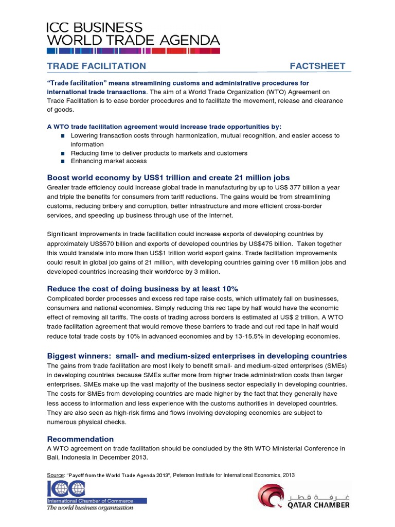 Trade facilitation fact sheet 1 july 2013 world trade trade facilitation fact sheet 1 july 2013 world trade organization trade platinumwayz