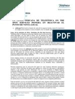 LA FILIAL PERUANA DE TELEFÓNICA ON THE SPOT SERVICES PIONERA EN REACTIVAR EL PUNTO DE VENTA LOCAL
