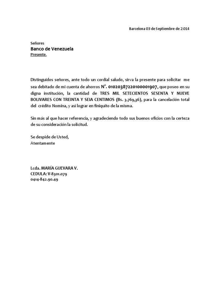 Carta finiquito credito nomina Bod solicitud de chequera