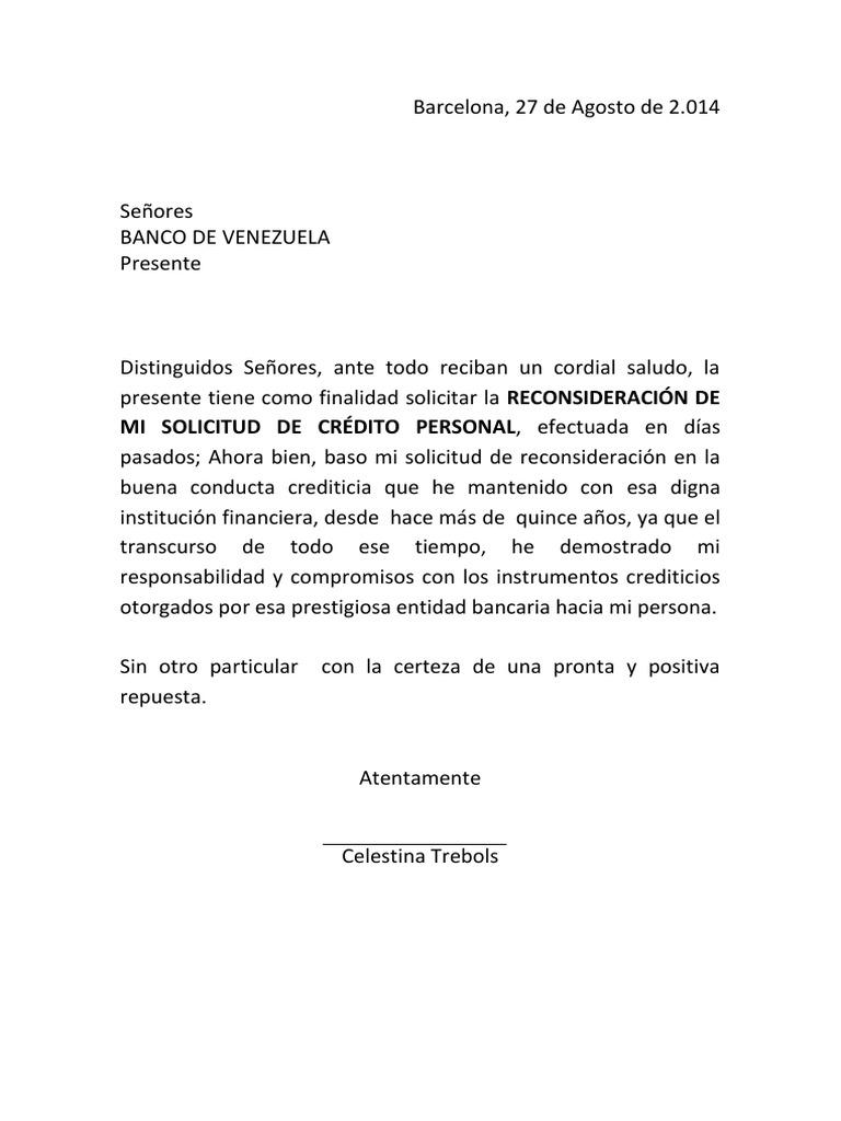 Carta reconsideracion credito for Solicitud de chequera banco venezuela