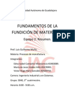 RESUMEN, Fundamentos de La Fundición de Materiales