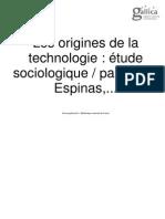 ESPINAS Origines de La Technologie