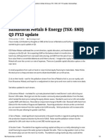 Sandstorm Metals & Energy (TSX_ SND) Q3 FY13 Update _ MyValueEdge