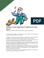 Adoptan Nuevas Reglas Para La Vigilancia en Salud Laboral
