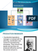 Roles of production Manager