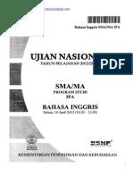 Naskah Soal UN Bahasa Inggris SMA 2013 Paket 1