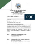 City Council Closed Session Agenda 09-11-14
