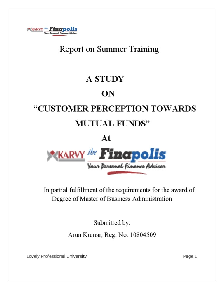 literature review on consumer perception towards mutual funds Literature review ippolito (1992) states that an investor is ready to invest in those fund or schemes which have resulted in good rewards and most investors' are attracted by those funds or schemes that are performing better over the worst.