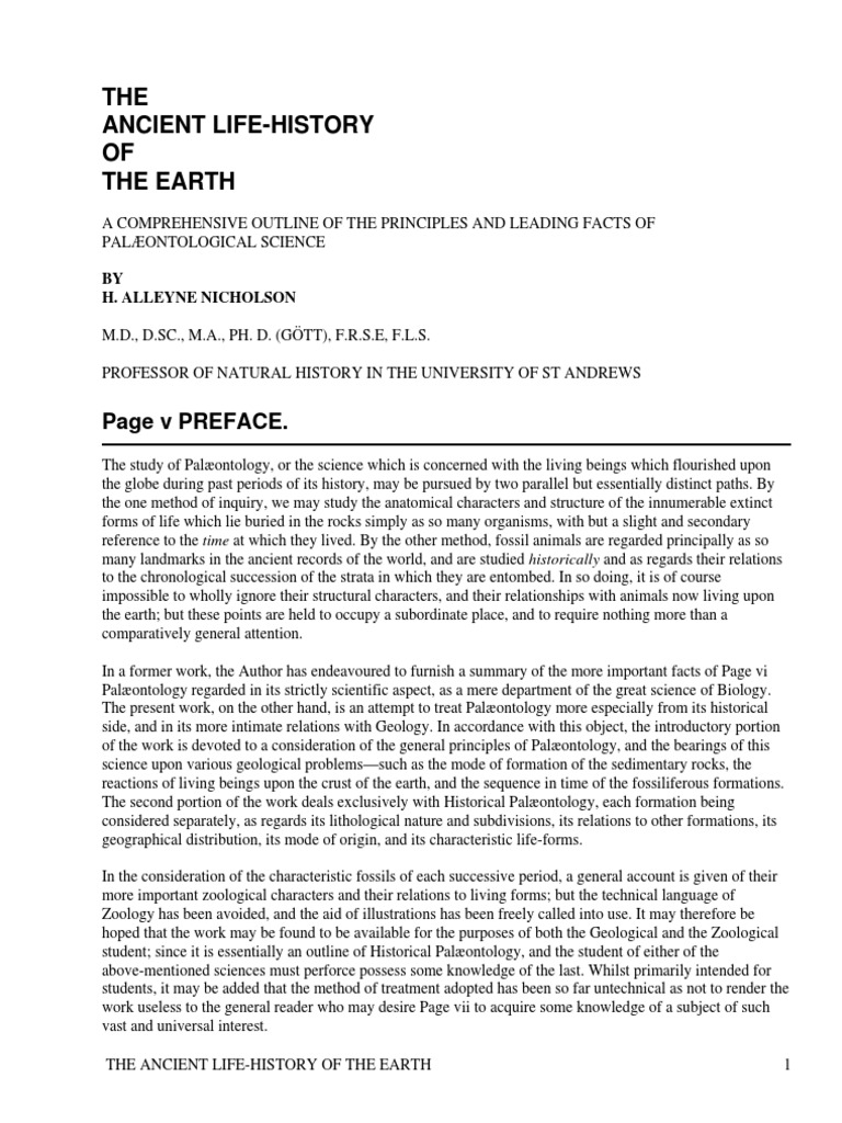 The ancient life history of the earth a comprehensive outline of the ancient life history of the earth a comprehensive outline of the principles and leading facts of palontological science by nicholson henry alleyne pooptronica