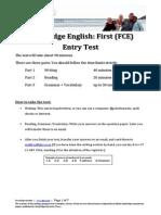 FCE Entry Test 2011