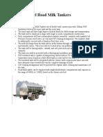 Stainless Steel Road Milk Tankers