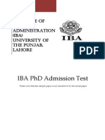 Iba Phd Sample Test 2014