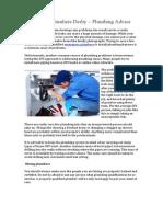 Emergency Plumbers Derby – Plumbing Advice