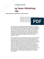Bringing Lean Thinking to Energy