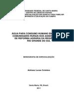 Água Para Consumo Humano Em Escolas e Comunidades Rurais Dos Assentamentos de Reforma Agrária Da Região Sul Do Rio Grande Do Sul