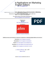 Special Issue on the Theme Alternative Forms of Communication in Marketing