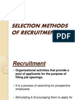 Selection Methods of Recruitment