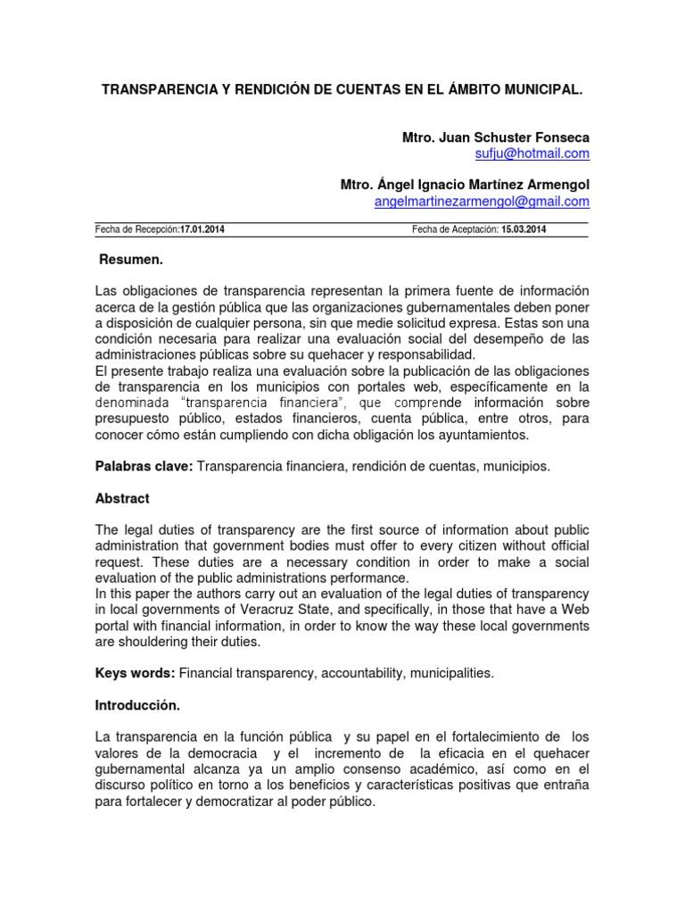 Transparencia y rendición de cuentas en el ámbito municipal