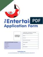 Entertainer E-Application Form 2011