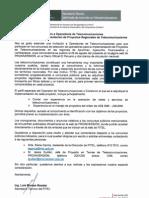 Carta de Invitación a Operadores de Telecomunicaciones