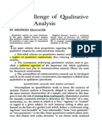 Kracauer - The Challenge of Qualitative Content Analysis
