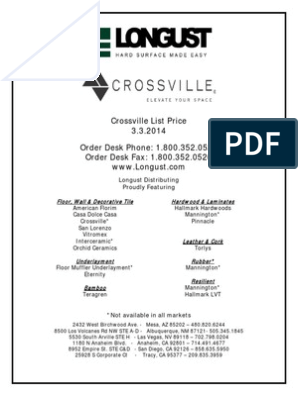 Crossville 2014 List Price Tile Manmade Materials