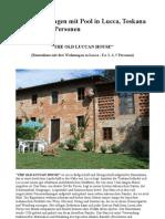 The Old Luccan House-Bauernhaus mit drei Wohnungen in Lucca fuer 3, 4, 5 Personen (oder 12 Personen)