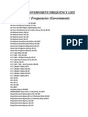 Nationwide Government and Military Master Frequency List | Bureau Of