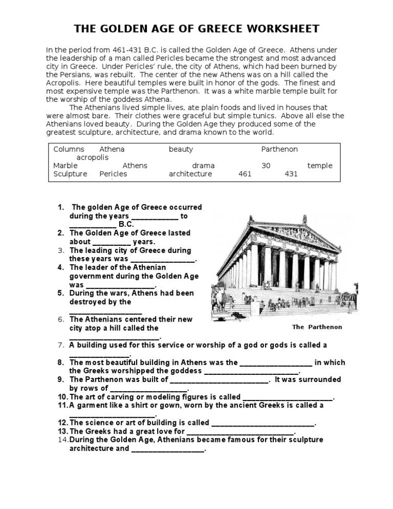 The Golden Age of Greece Worksheet