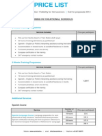 price list 2014 training in vocational schools