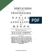 Isaac Newton - Observações Sobre as Profecias de Daniel e o Apocalipse de São João Em Duas Partes