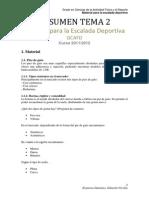 Resumen Tema 2 - Material Para Escalada Deportiva