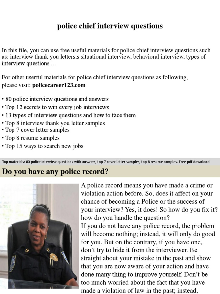 Police Chief Interview Questions Job Interview Interview