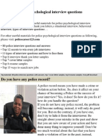 Police Psychological Interview Questions