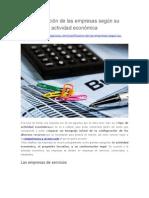 Clasificación de Las Empresas Según Su Actividad Económica