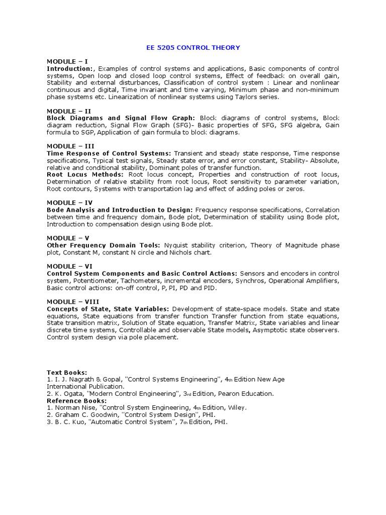 Syllabus 6th Sem | Control Theory | Systems Theory