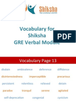 Vocabulary for Shiksha GRE Verbal Module