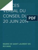 Procès verbal du Conseil Municipal du 20 juin 2014