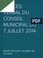 Procès Verbal du Conseil Municipal du 7 juillet 2014