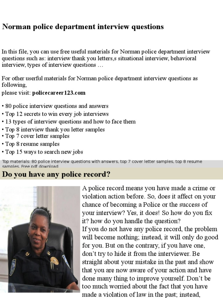 Norman Police Department Interview Questions Interview Resume
