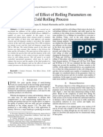 FEM Analysis of Effect of Rolling Parameters on Cold Rolling Process