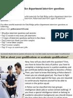 Oak Ridge Police Department Interview Questions