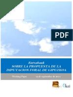 Kutxabank. SOBRE LA PROPUESTA DE LA DIPUTACION FORAL DE GIPUZKOA